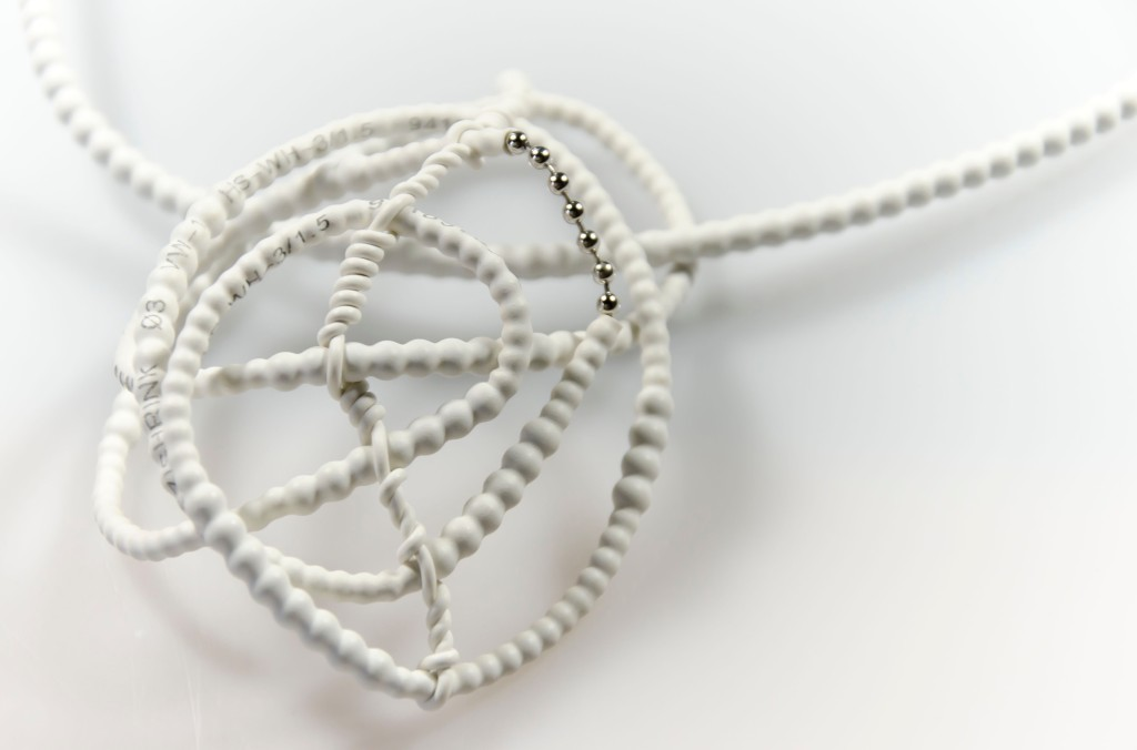 Necklace #1(Overexposed) 2013 Rubber, 925 silver, mixed media, stainless steel [Photo credit: Tineke Jansen]