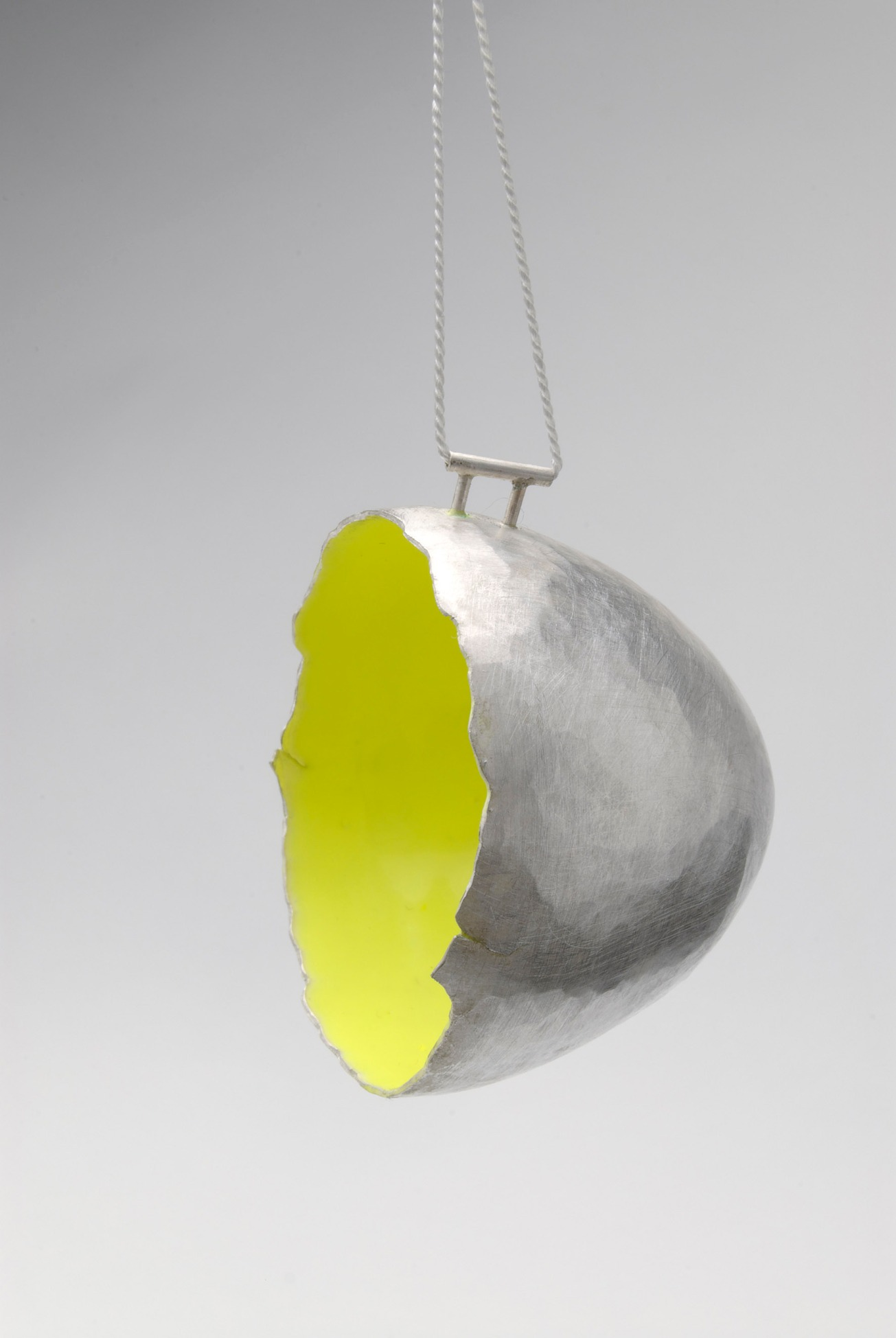 vessel pendant – fluro (fine silver, resin, silk cord) ongoing series