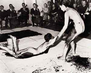 Action shot of Yves Klein 'body paintings' of the 60's