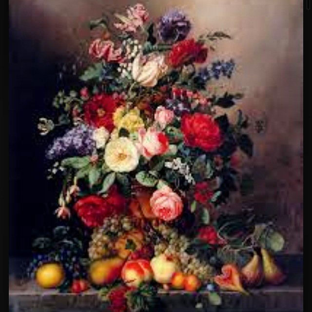 Amalie Kaercher A Still Life With Assorted Flowers, Fruit And Insects On A Ledge Oil on canvas 1866 99.7 x 82.5 cm (39¼